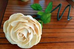 Handmade flower. Beautiful handmade white rose flower Royalty Free Stock Images
