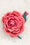 Handmade flower color leather brooch.  Royalty Free Stock Photo