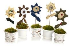 Handmade flower in pot Royalty Free Stock Photo