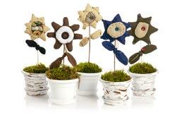Handmade flower in pot Stock Photography