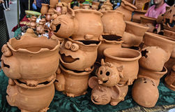 Handmade flower pots Royalty Free Stock Photo