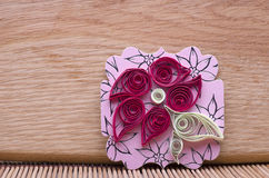 Handmade flower quilling paper craft,hobby practise. Royalty Free Stock Image