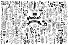 Handmade flowers and leaf elements set. Vector herbs set. Collection with leaf and flowers, hand drawn elements. Design elements f. Or templates, wedding vector illustration