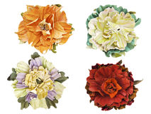 Handmade flowers leather brooch Stock Photography