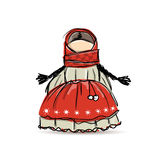 Handmade folk doll mascot, sketch for your design Stock Images