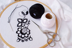 Handmade folk embroidery in progress. The traditional moravian folk embroidery on folk costume in progress Royalty Free Stock Photo