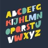 Handmade font. Vector comic letters. Funny alphabet for decoration. Vector cartoon illuatration of handmade script slanted ABC. Vector comic letters. Funny Stock Photos