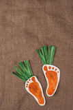 Handmade foot-shaped carrot Royalty Free Stock Image
