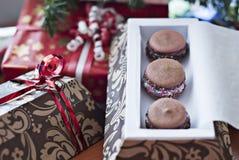 Handmade french macarons in handmade box. For present on bokeh Royalty Free Stock Photo
