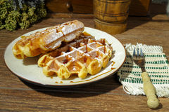 Handmade fresh belgian waffles on rural background royalty free stock photography