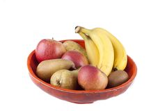 Handmade fruit bowl with various fruits Stock Photos