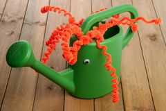 Handmade garden can toy funny face Stock Images