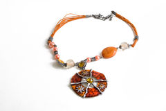 Handmade gem necklace. On bright background, women's beloved accessory, so graceful it is Stock Image