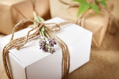 Handmade Gift Box with Lavender Sprig Royalty Free Stock Images
