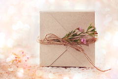 Handmade gift box with waxflowers Royalty Free Stock Image
