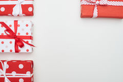 Handmade gift boxes arranged on flat layout with copy space Royalty Free Stock Photography