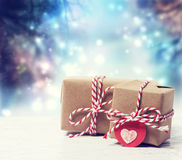 Handmade gift boxes in shiny night Royalty Free Stock Images