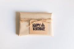 Handmade gift with Happy Birthday card, Celebration congratulati Stock Photo