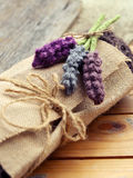 Handmade gift, knitted lavender flower Royalty Free Stock Photos
