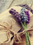 Handmade gift, knitted lavender flower Stock Photo