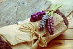 Handmade gift, knitted lavender flower Stock Image