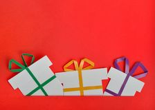 Handmade gift. On red background stock images