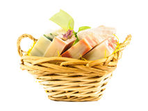 Handmade gift soap bars in basket Royalty Free Stock Photos