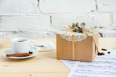 Handmade gifts wrapped in craft paper in vintage style Stock Photos