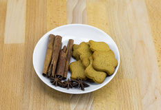 Handmade ginger biscuit of flower form with cloves and anise Stock Photography