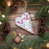 Handmade gingerbread heart on wooden background Stock Image
