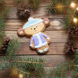 Handmade gingerbread heart on wooden background Royalty Free Stock Photography