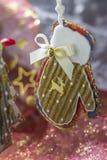 Handmade glove. Hand-made gloves for Christmas tree decoration stock photo