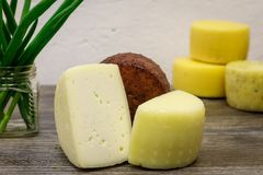 Handmade goat cheese brewed on the farm.  royalty free stock images