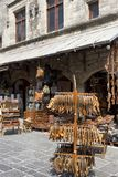 Handmade greek leather sandals and bags outside of a shop in street of Rhodes Old City, Greece. Rhodes island, Greece - September 12, 2018. Handmade greek royalty free stock photos