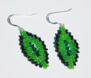 Handmade green beads earings Royalty Free Stock Photos