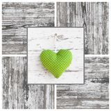 Handmade green dotted heart shape and wooden frame - handmade - Royalty Free Stock Photos