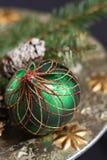 Handmade green english ornament ball for christmas tree Stock Photo