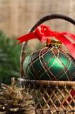 Handmade green english ornament ball for christmas tree Royalty Free Stock Images
