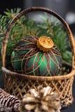 Handmade green english ornament ball for christmas tree Royalty Free Stock Photo
