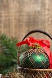 Handmade green english ornament ball for christmas tree Royalty Free Stock Photos