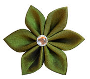 Handmade green fabric flower Royalty Free Stock Photo