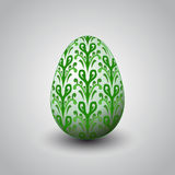 Handmade green foliage decorated easter egg  Royalty Free Stock Photo