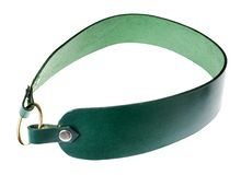 Handmade green leather circle belt isolated royalty free stock photography