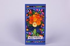 Handmade greeting card with bouquet of flowers royalty free stock images