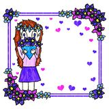 Handmade greeting card. Children`s drawing simulation. Girl holds bouquet of blue flowers White background. Square vivid floral frame. Happy Mother`s Day or Royalty Free Stock Photo