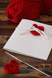 Handmade greetings card with red crochet heart for Saint Valenti Stock Image