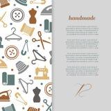 Handmade, handcraft, sewing banner design. Handmade, handcraft, sewing banner poster design with icons. Vector illustration Stock Photo