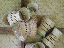 Handmade handicraft weaving bamboos household or kitchen use utensils Stock Photo