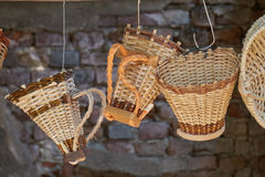 Handmade hanging pannier Royalty Free Stock Images