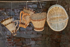 Handmade hanging pannier Royalty Free Stock Photography